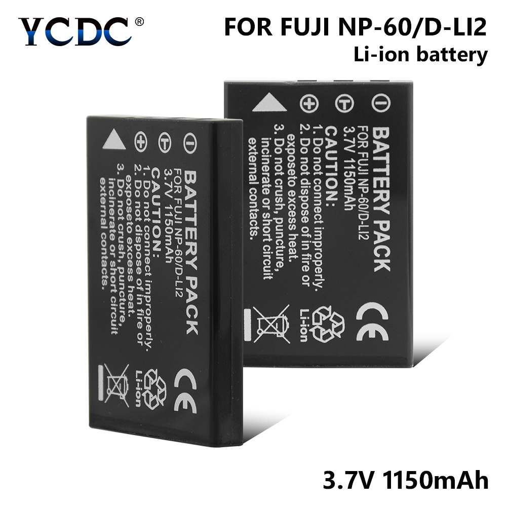 1/2 Pcs NP-60 NP60 NP 60 Camera Battery 1150mAh Lithium Battery For Samsung SLB-1037 SLB-1137/Toshiba PDR-BT3//Yaesu FNB-82LI