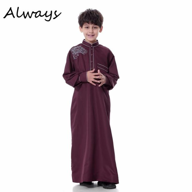 2017 Lindo Niño Niños Estilo Thoub Bata Ltima Daffah Arabia Islámica Dishdasha Islámico Árabe Caftán