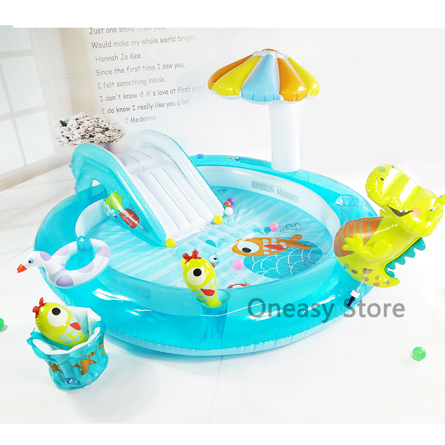 Slides Link garden water pipes can be sprayed Eco-friendly PVC Plastic inflatable round With umbrellas bucket swimming pool environmentally friendly pvc inflatable shell water floating row of a variety of swimming pearl shell swimming ring