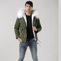 2017 white fox collar short army green mens parka, MeiFNG Branch fashion fur coat, faux lining fur mens outwear fur jacket
