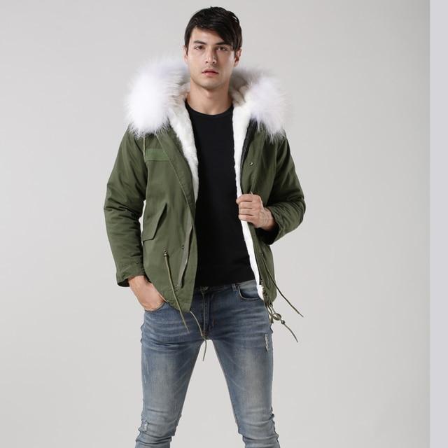 descuento especial grandes ofertas en moda Página web oficial Parka para hombre verde militar corta con cuello de zorro blanco 2017,  abrigo piel moda rama MeiFNG, chaqueta sintética