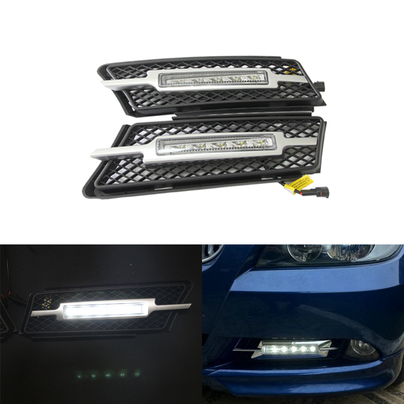 high brightness 10W LED DRL daytime running light 12V driving fog light for BMW E90 E91 2005-2008 with turn signal oem fit 10w high power 5 led daytime running lights drl kit for bmw 3 series e90 e91 2005 2008 driving light led fog light lamp