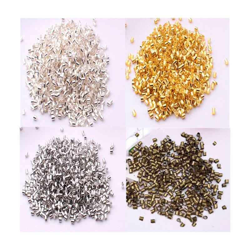 Cuentas de Metal de bronce dorado para fabricación de joyas, 500 Uds., espaciador de tubo de tope, suministros, collar, 2,0mm