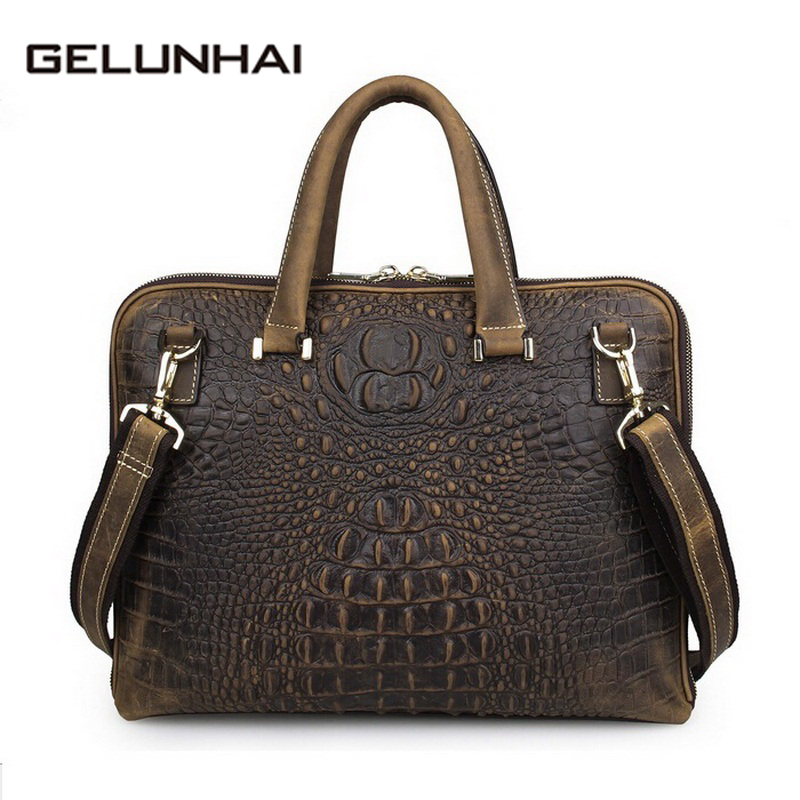 2017 14 Inch Alligator Soft Briefcase Laptop Bag Man Genuine Leather Bags For Men Real Handbags Casual Mens Shoulder New Brand lowepro protactic 450 aw backpack rain professional slr for two cameras bag shoulder camera bag dslr 15 inch laptop