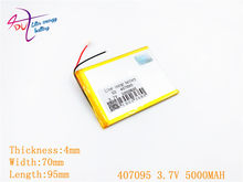 3.7V 5000mah (polymer lithium ion battery) Li-ion battery for tablet pc 7 inch MP3 MP4 [407095] replace [357095] High capacity(China)