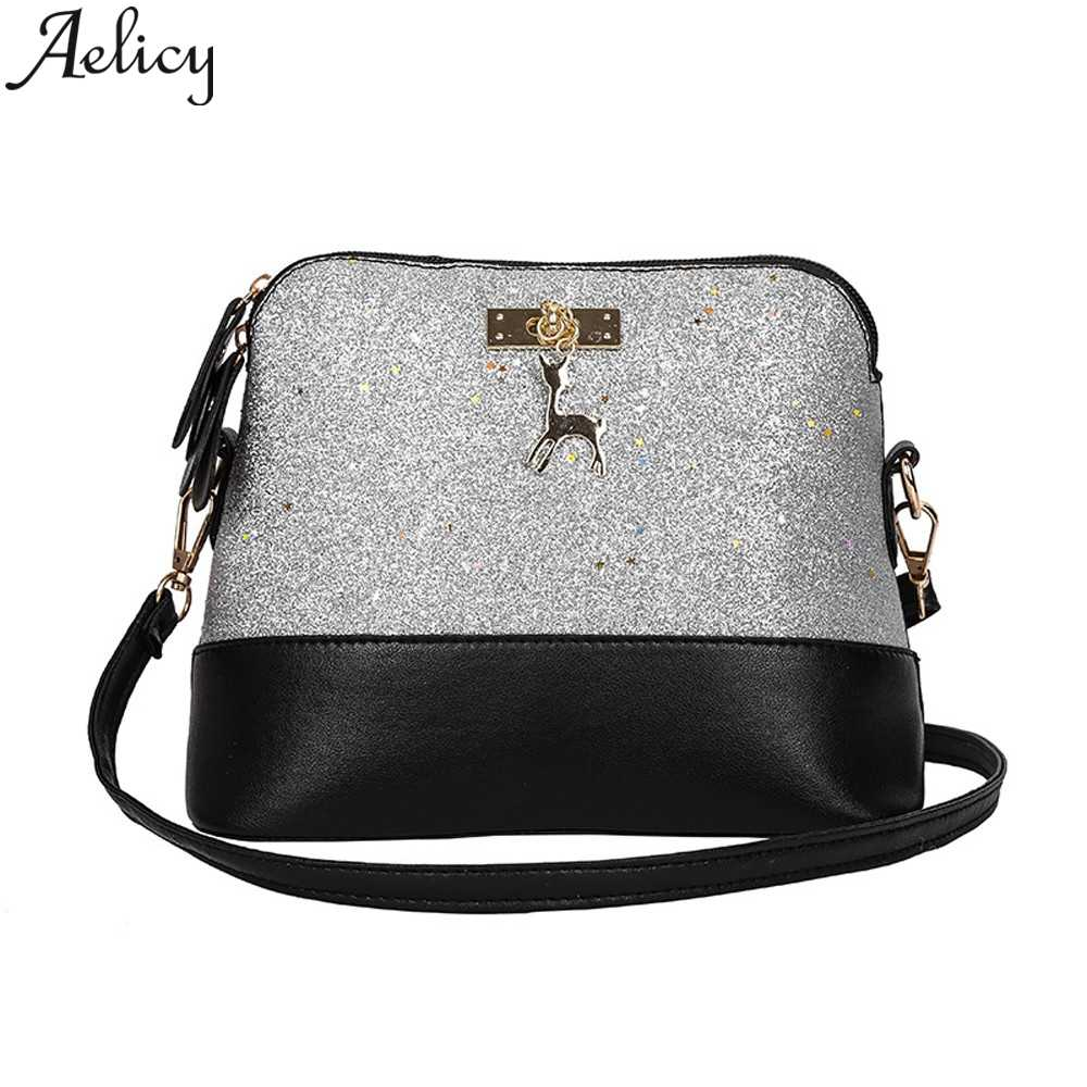 Aelicy Women  Fashion Zipper Sequins Small Deer Leather Purse Mobile Phone Bag Shoulder Bag Ladies Tote Handbag Messenger Bags
