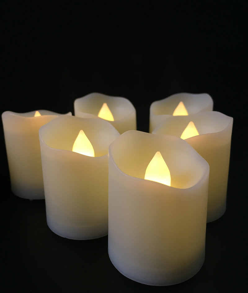 Set of 6pcs wavy Edge Flameless LED Candle w/timer Remote Control Flickering votive tealight Christmas/Wedding/Church-Warm white
