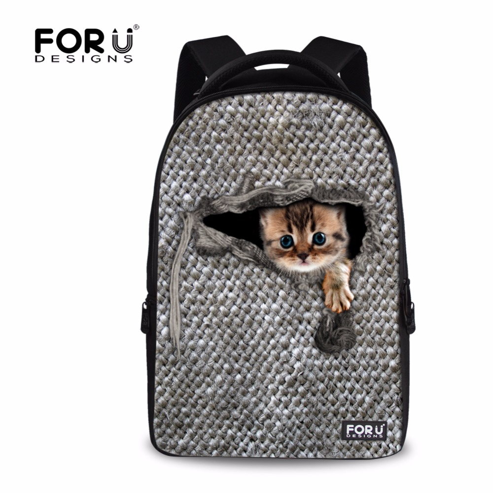 FORUDESIGNS Large Women Men Backpacks Cute Animal Cat Ferret Printing School Backpack for College Student Laptop Rucksack forudesigns casual backpack for women men large cute animal cat dog printing college student school backpack laptop bags mochila
