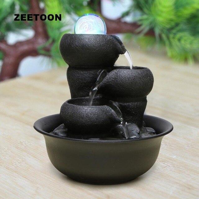 110V-220V Zen Style Resin Mini Water Fountain Air Humidifier Feng Shui Ornaments Home Decor Living Lucky Desktop LED Atomizer