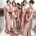 Cheap Mermaid Rose Gold Sequin Bridesmaid Dresses Backless Wedding Party Gowns Maid of Honor Dress robe demoiselle d'honneur