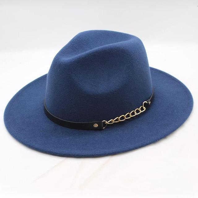 b2df59f78febd6 Elegant Wide Brim Fedora Hat Ladies Wool Felt Hats Leather Belt Spring  Winter Women Jazz Hat Black Hats & Caps