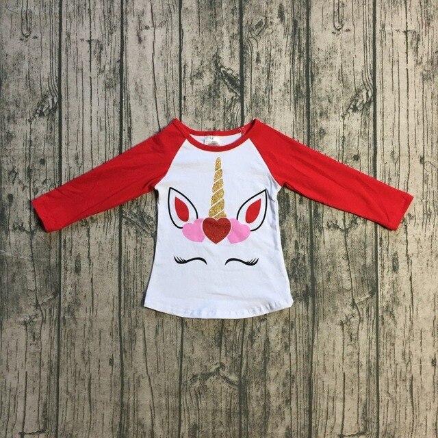 Baby Girls Clothes Raglan Top V Day Raglan Girls Valentines Day Unicorn Heart Raglans Kids