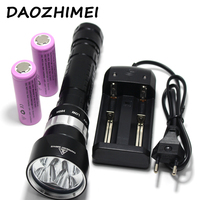 swimming XM L2x4 Led 10000LM Diving Flashlight Torch Waterproof submarine 200m dive powerful Lantern + 26650 battery + charger