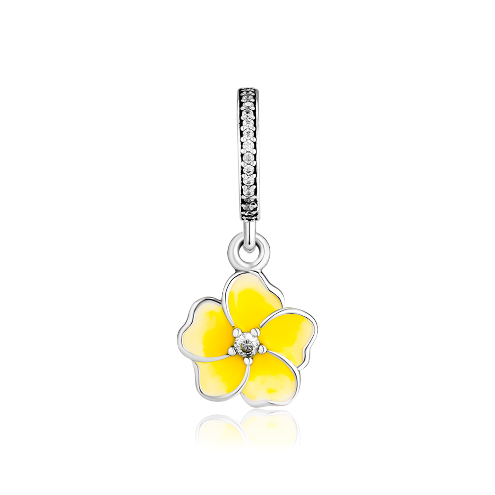 CKK Beads Poetic Blooms Charm with Yellow Enamel Authentic 925 Sterling Silver Fits Pandora Bracelet for Jewelry Making