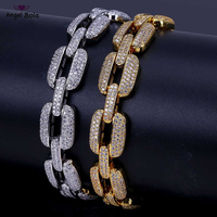8 Inch Hip Hop Horseshoe Men Bracelet Silver/Gold Iced Out AAA CZ Cubic Zirconia Chain Bling Crystal Bracelet Women 20.5cm