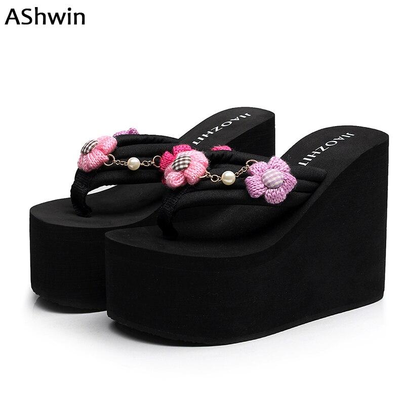 ee4aa2753eec summer women high heels slippers sandals super high flower flip flops  handmade tassel beads hawaiian mules
