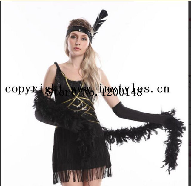 Flapper Costume Color Black QQ20170628145616