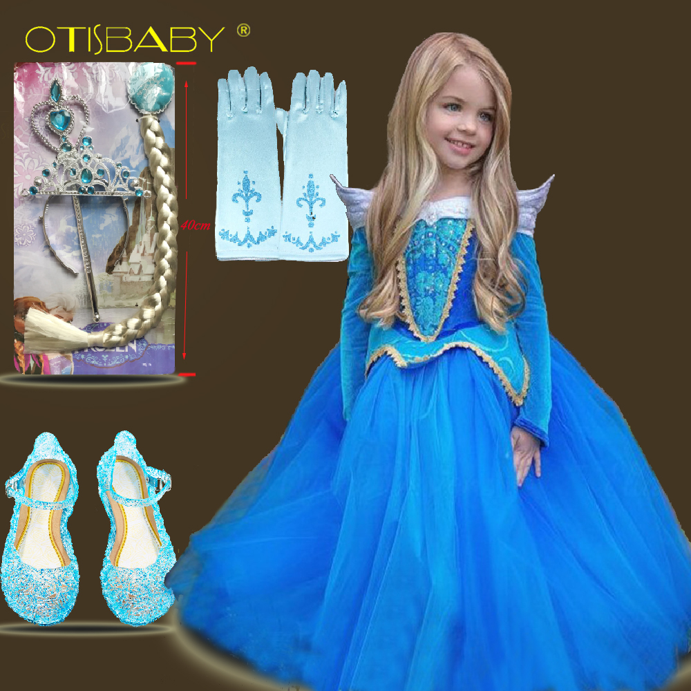 все цены на Summer Kids Pageant Girls Aurora Costume Children Girl Fairy Cinderella Collar Princess Sofia Birthday Party Tutu Ceremony Dress
