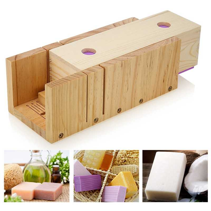 Wooden Soap Loaf Cutter Mold And Rectangle Silicone Mould With Wood Box Food-Grade Silicone Soap Cutter Mold