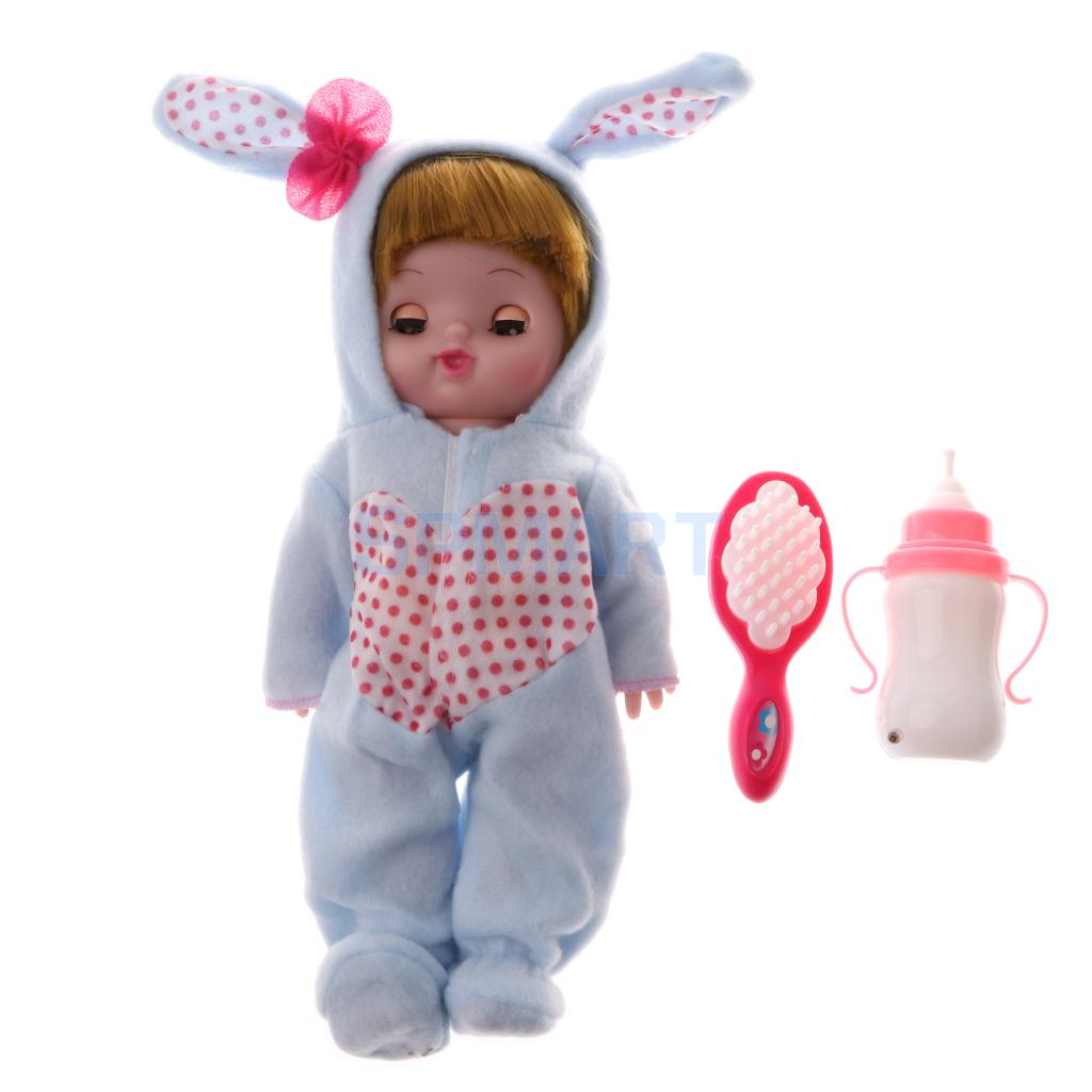 28cm Electric Plush Vinyl Crying Laughing Newborn Doll with Feeding Bottle Kids/Baby Preschool Role Play Toy