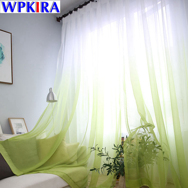 Fashion Gradient Green Curtain Tulle Fly Window Curtain Cortina Drapes  Sheer Blue Voile Kitchen Door Curtain
