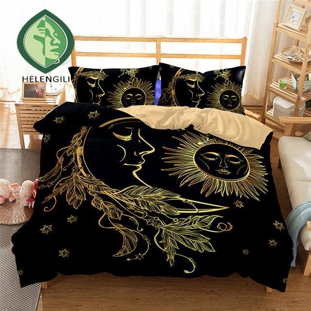 Lightweight Boho Sun Moon And Stars Bedding Set Duvet Cover Twin Queen King Beautiful