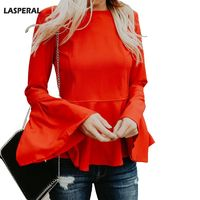 LASPERAL Brand Flare Sleeve Tee Tops 2018 Autumn Spring Women Casual High Street T Shirt Solid