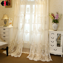Classical luxury European Style Flower Pattern embroidered organza curtains Voile Curtains bedroom curtain beige WP364D