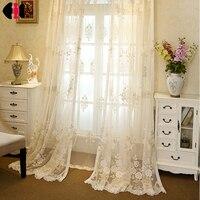 Luksusowe klasyczny Europejski Styl Kwiatowy Wzór haftowane organza Woal zasłony Zasłony sypialnia kurtyny beżowy WP364D