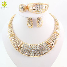 Jewelry Sets For Women Crystal  Wedding Gold Color Bridal Accessories Necklace Bracelet Earrings Rings Set