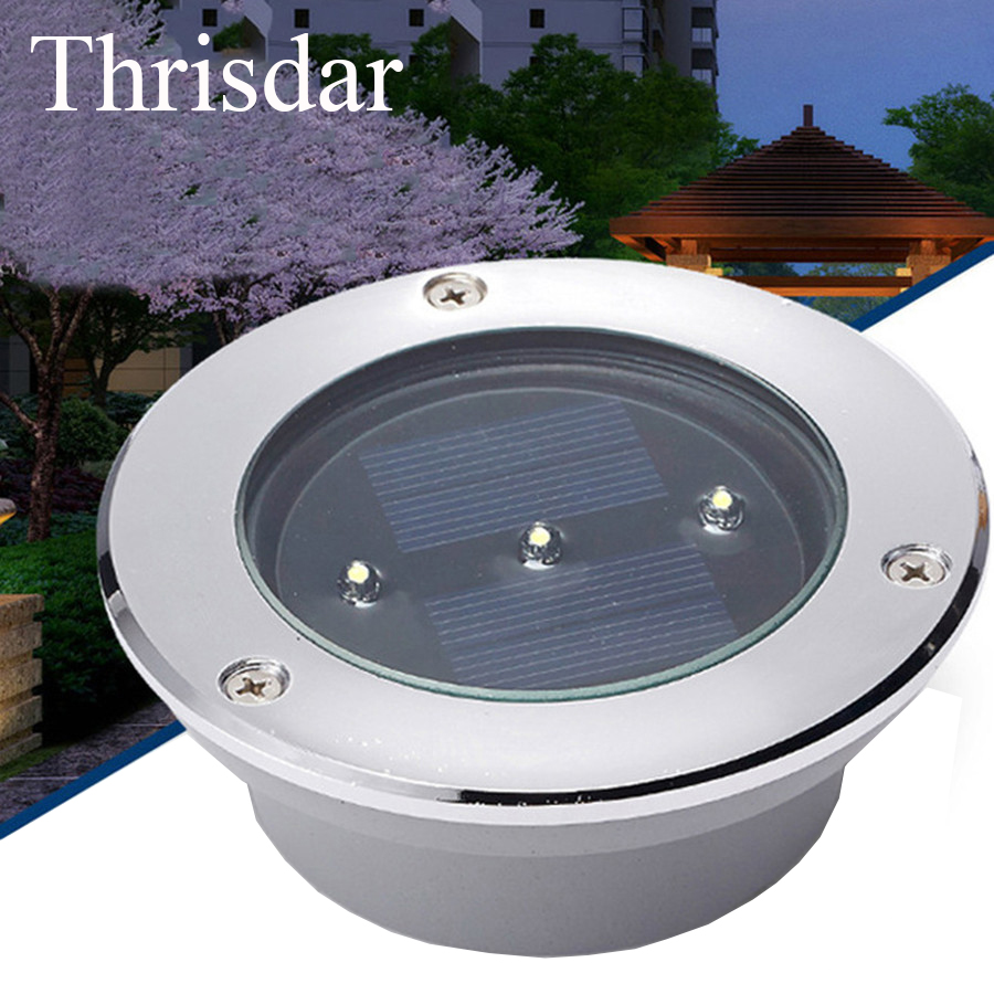 Thrisdar 3Leds High Quality Solar Power Underground light Buried lamp Outdoor Solar Landscape Garden Fence Stairsway Deck Lamps