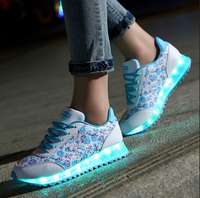 2017 new colorful luminous glow shoes boys and girls shoes lovers LED USB charging lamp leisure flat shoes