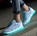 2017 nova colorido brilho luminoso shoes meninos e meninas shoes amantes da lâmpada de carregamento usb led lazer flat shoes