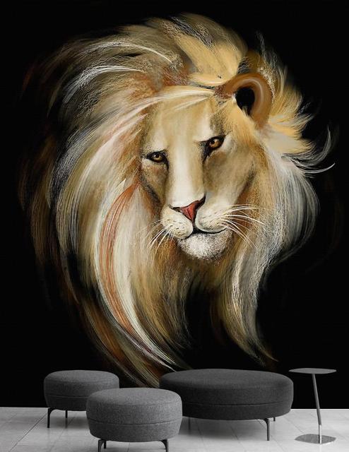 Custom European Hd 3d Wallpaper Hand Drawn Lion Photo Wallpaper For