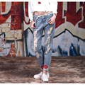 Retail!mom and daughter denim pants,2016 new mother daughter fashion lovely broken hole denim pants, girls clothes,free shipping