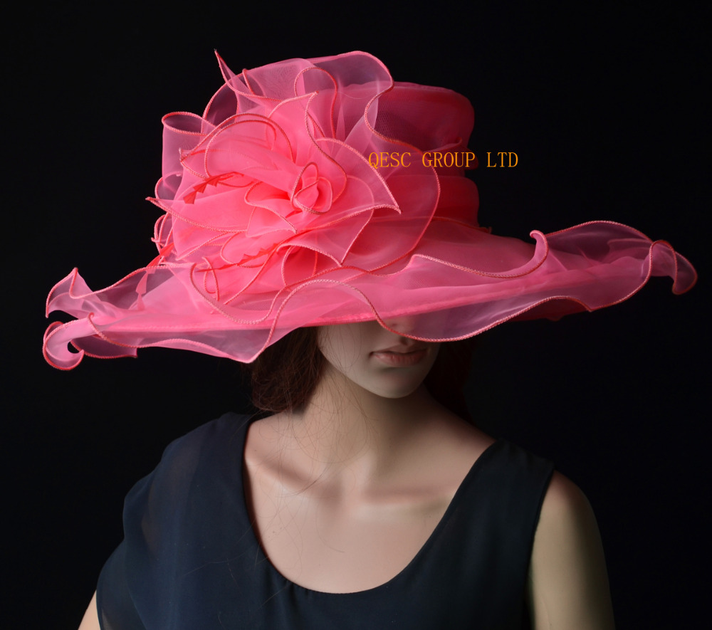 90651f13348 NEW colour Watermelon pink Organza Hats Church Hat Formal dress Hat for kentucky  derby