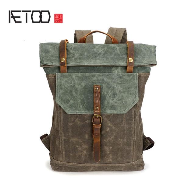 d3a8c85840 AETOO Oil Wax Canvas Bag Europe   America Retro Men Shoulder Bag Student  Travel Shoulder Bag