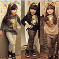 Мода Детская Одежда Устанавливает Leopard Костюмы Животных Топ + Леггинсы 2 шт. Детская Одежда Новорожденных Девочек Костюмы 0-7лет/Осень BC1113