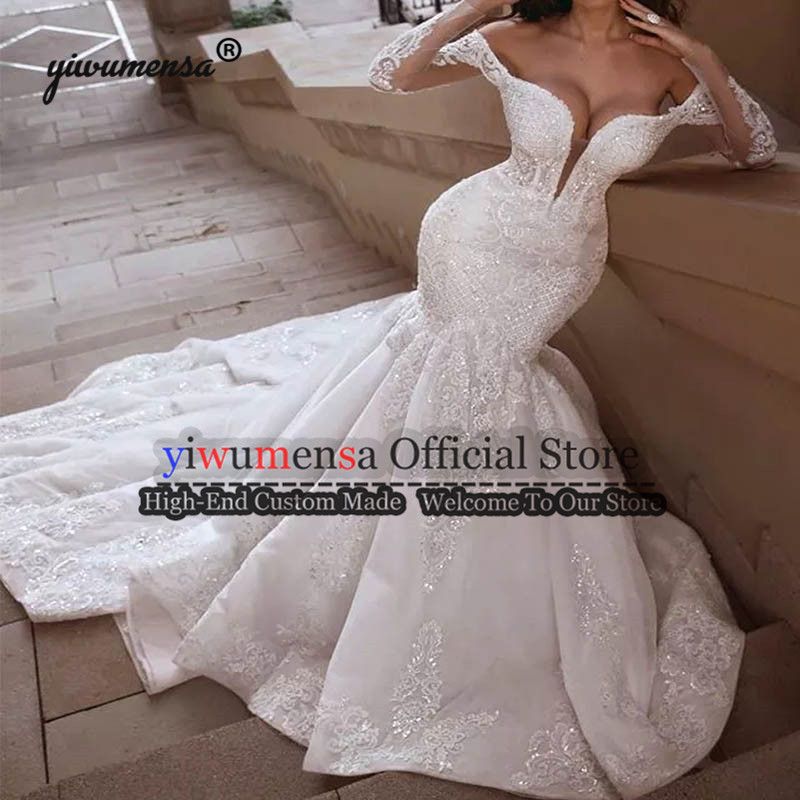 Dubai Arabic Sexy Wedding Dresses Robe De Mariee 2019 Mermaid Long Wedding Dress Boho Plus Size