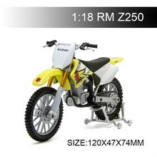 Maisto 1:18 دراجة نارية نماذج سوزوكي RMZ250 RM Z250 دييكاست البلاستيك موتو مصغرة لعبة سباق لجمع الهدايا