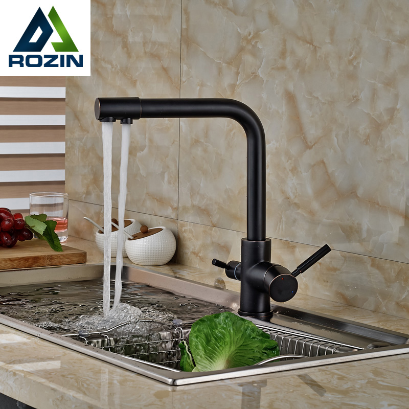 Kitchen Faucet Purified Water Purification Faucets Deck: Multifunctional Deck Mounted Hot Cold Water Kitchen Faucet
