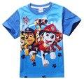 2017 chegam novas crianças roupas cão dos desenhos animados impresso roupas menino de manga Curta T-shirt de algodão tops camisa de t para crianças K010401