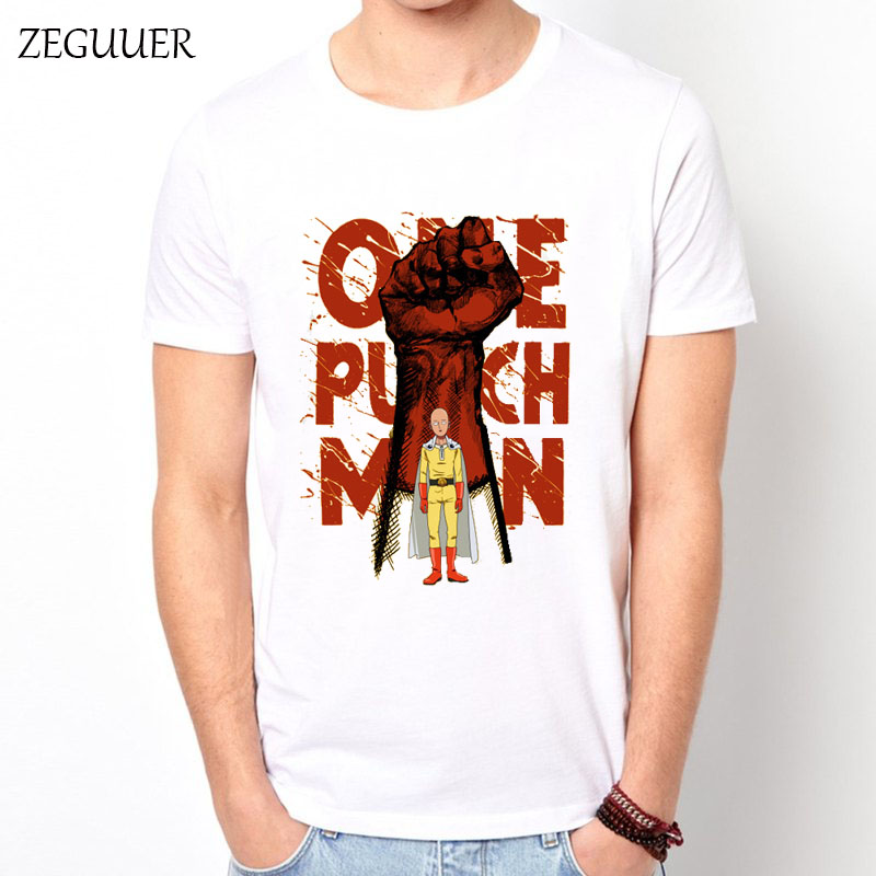 One Punch Tshirt Punch The Novel Japanese Anime White Short Sleeve Harajuku Streetwear Cotton Men's T-shirt Casual Clothes