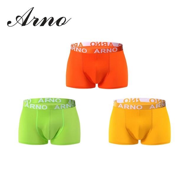 Arno 2017 bragas para hombre 3 unids \ lot underwear boxer suave atractiva de los hombres comfy boxer short underwear clásico sólido