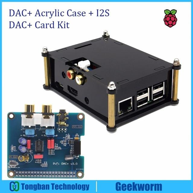 DAC+ Acrylic Case + PCM5122 I2S 32bit HIFI PiFi DIGI DAC+ IGI Digital Audio Sound Card Kit for Raspberry PI 3 Model B  / 2B /B+