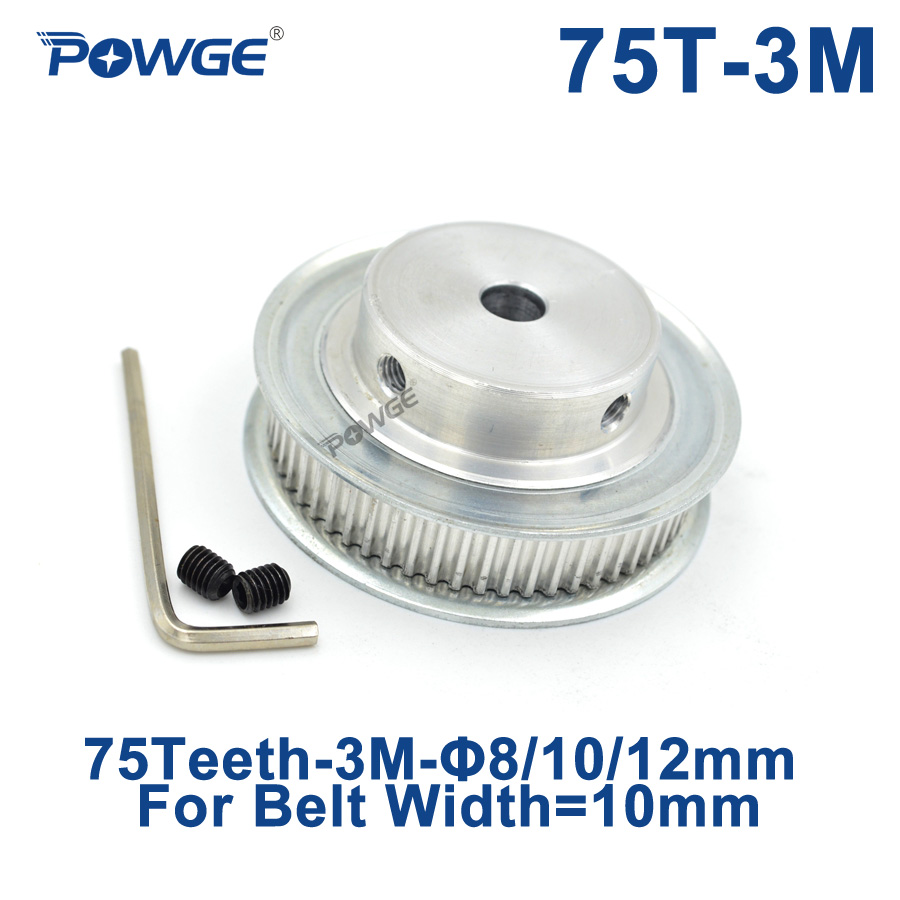 POWGE Arc Tooth 75 Teeth 3M Synchronous Pulley Bore 8/10/12mm for Width 10mm HTD3M Timing belt pulleys gear Wheel 75Teeth 75T все цены