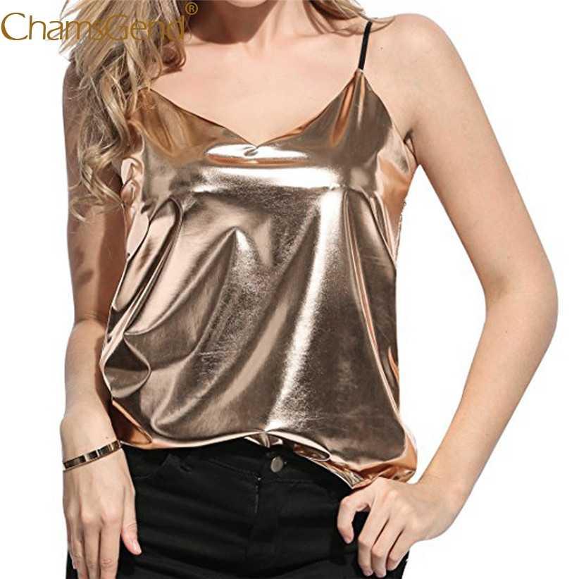 Chamsgend חדש עיצוב נשים Shinny זהב כסף לכה V צוואר Camis נקבה סקסי Clubwear חולצות 80403