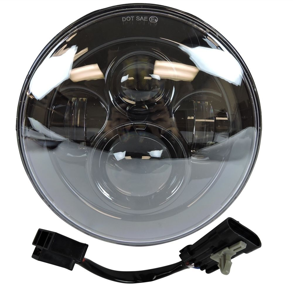 Image 4 - Headlight For Universal Motorcycle Parts 7 LED Motor Headlight  4.5 4 1/2 inch Passing Light For Harley Touring Softail Classiclight  for -