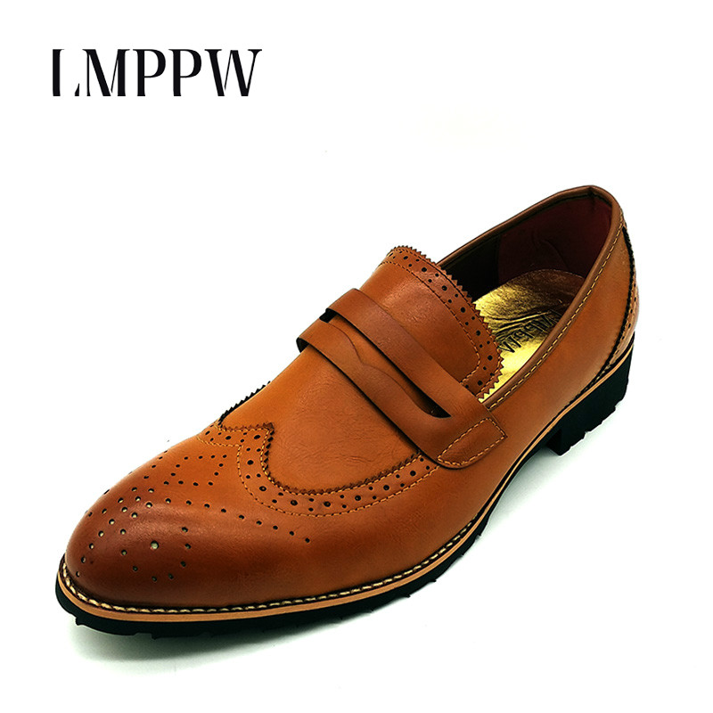 British Fashion Brogues Oxfords Shoes for Men Business Casual Shoes Breathable Pointed Toe Formal Dress Flats Leather Shoes 2A new brand designer formal men dress shoes lace up business party oxfords shoes for men pointed toe brogues men s flats plus size