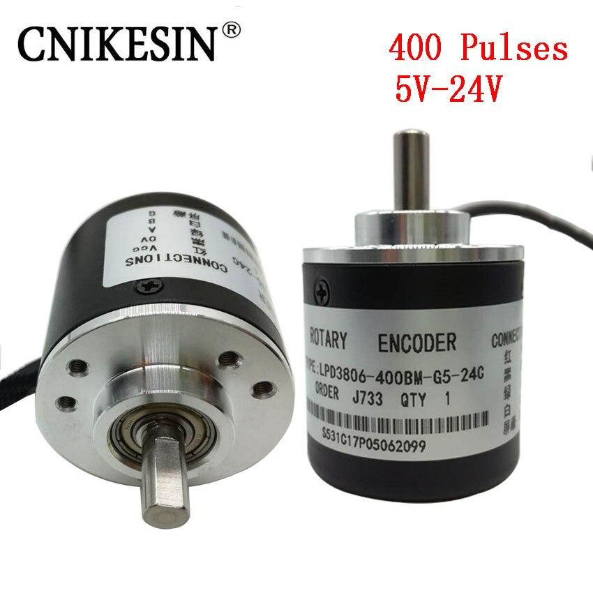 CNIKESIN 400 pulso Incremental óptico Rotary Encoder AB dos fase 5-24 V 200, 300, 100, 600 pulsos circuito de conmutación salida de colector abierto